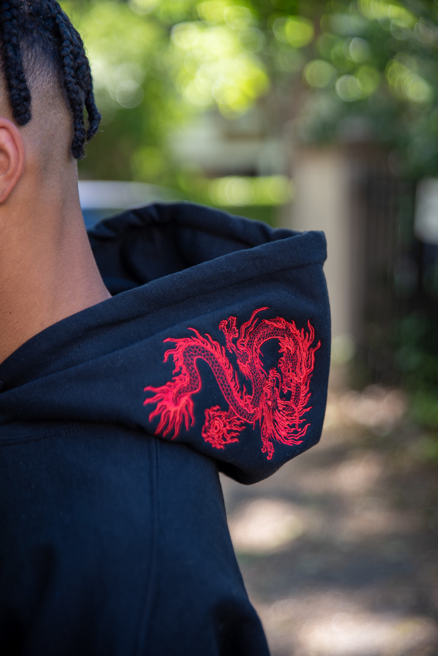 Black Hoodie With Red Dragon Embroidery