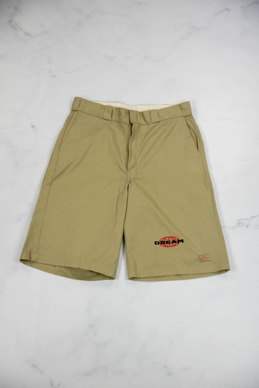 Reworked Vintage Dickies Shorts with Globe Embroidery