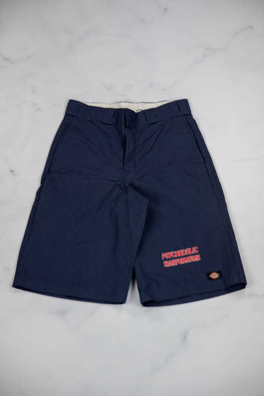 Reworked Vintage Navy Dickies Shorts with Psychedelic Transformations