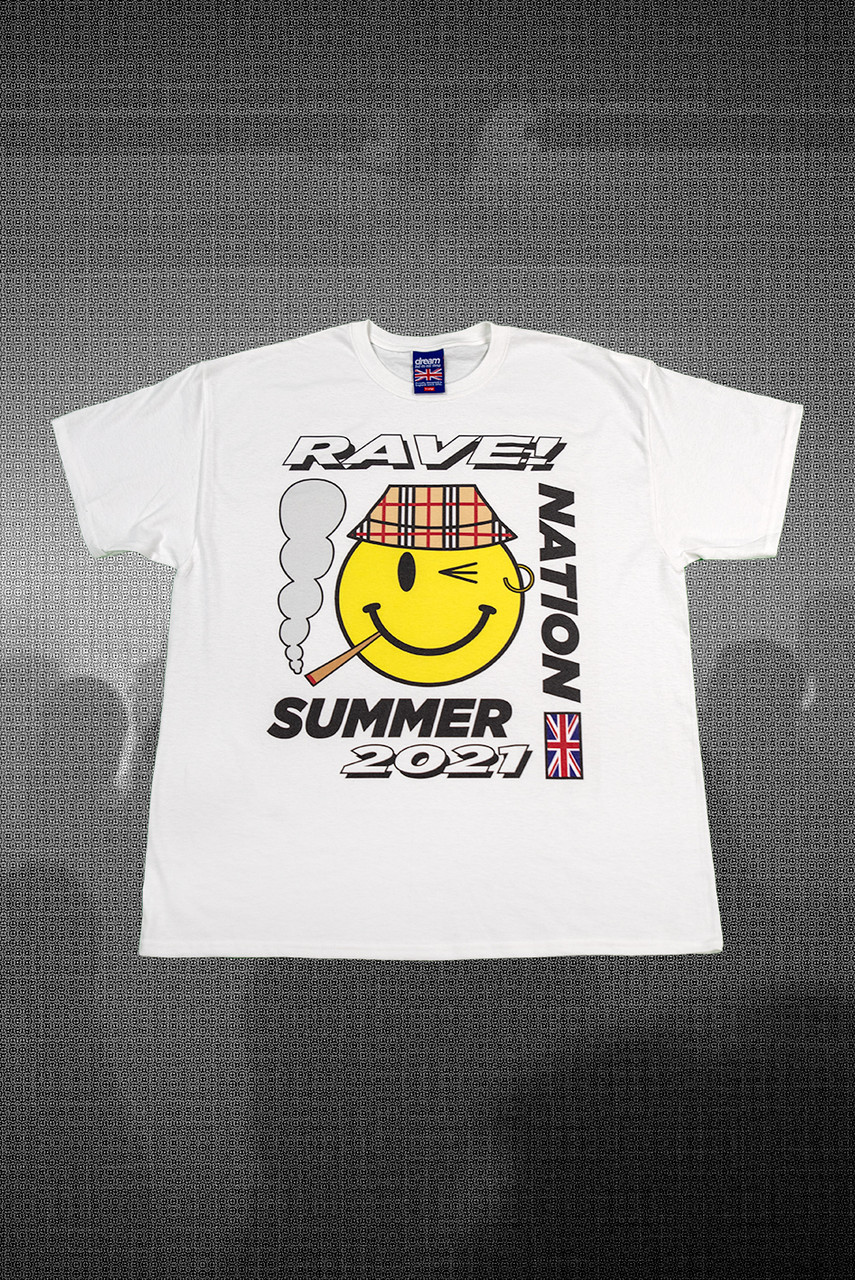 Short Sleeved T-shirt in White with RAVE! NATION Print