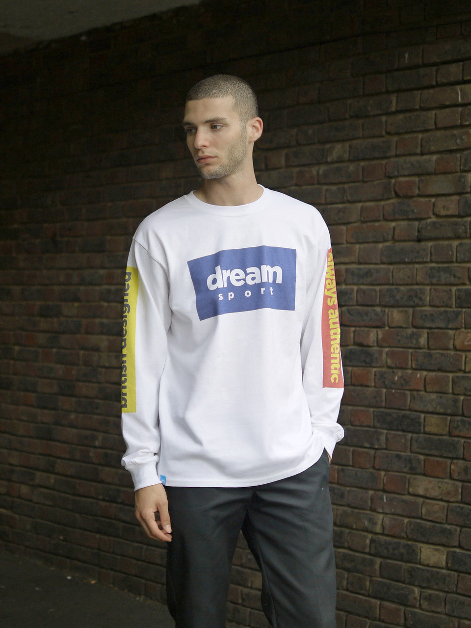 White Long Sleeved  T-Shirt With British Designed Print