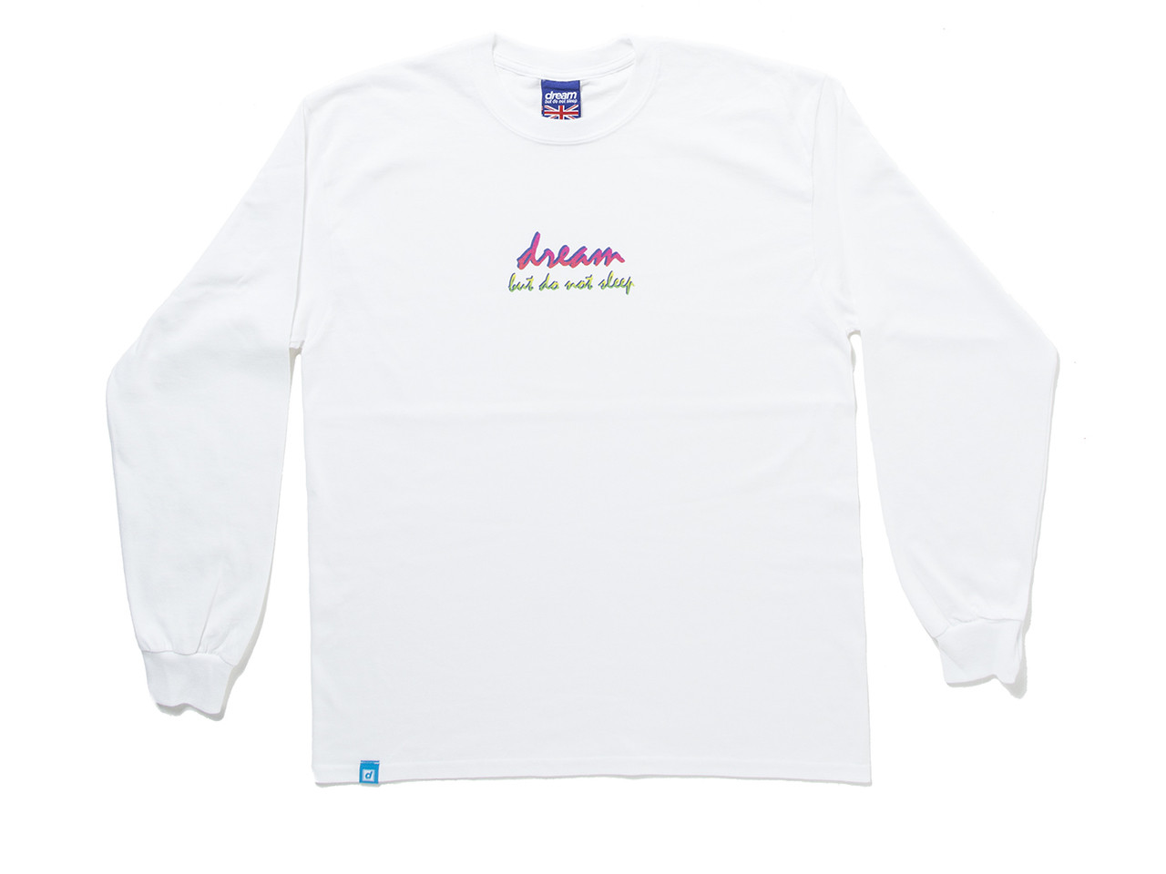 90s Logo Design On White Long Sleeved T-shirt