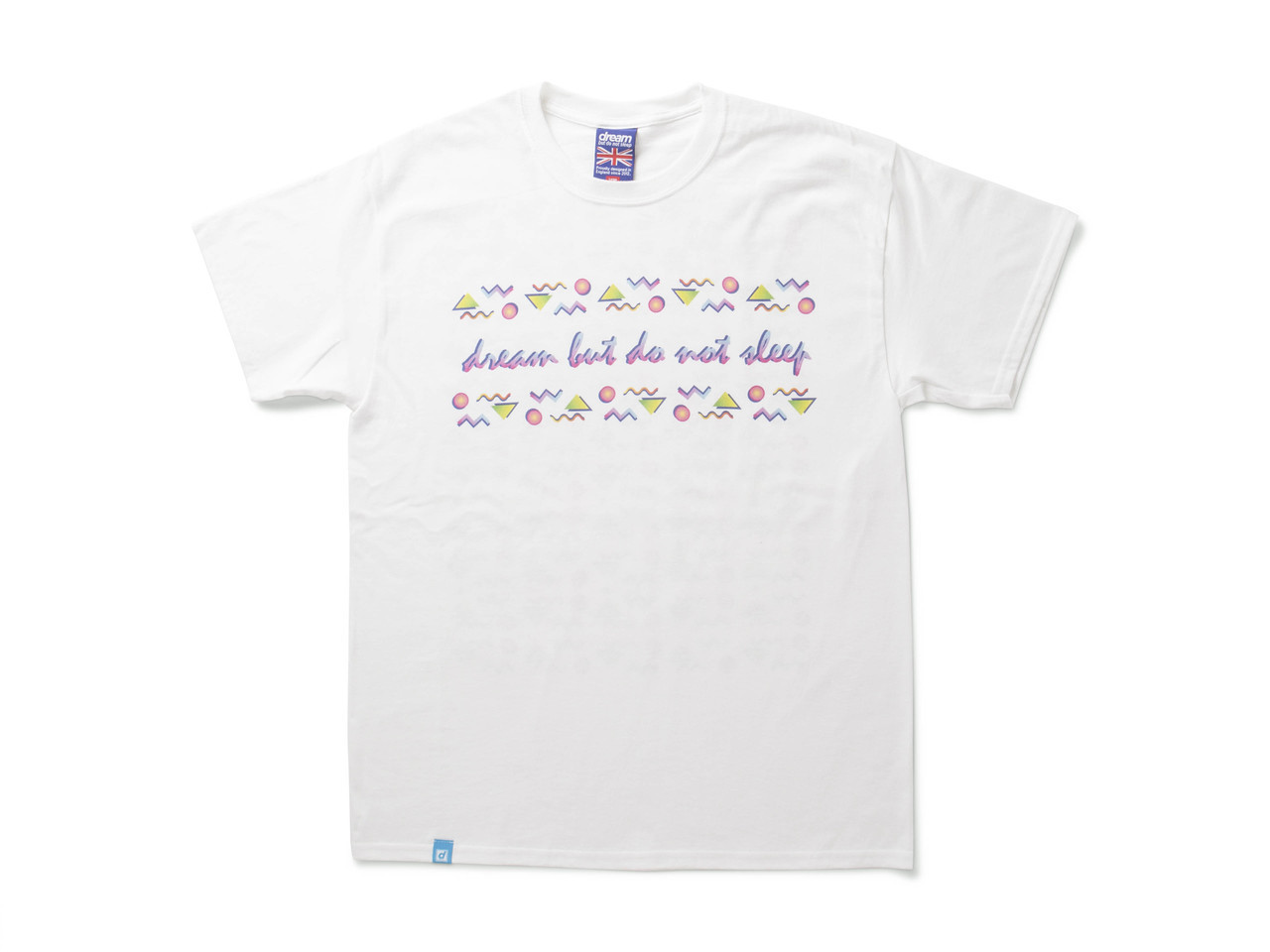 White Short Sleeved T-shirt With 80's Geometric Design