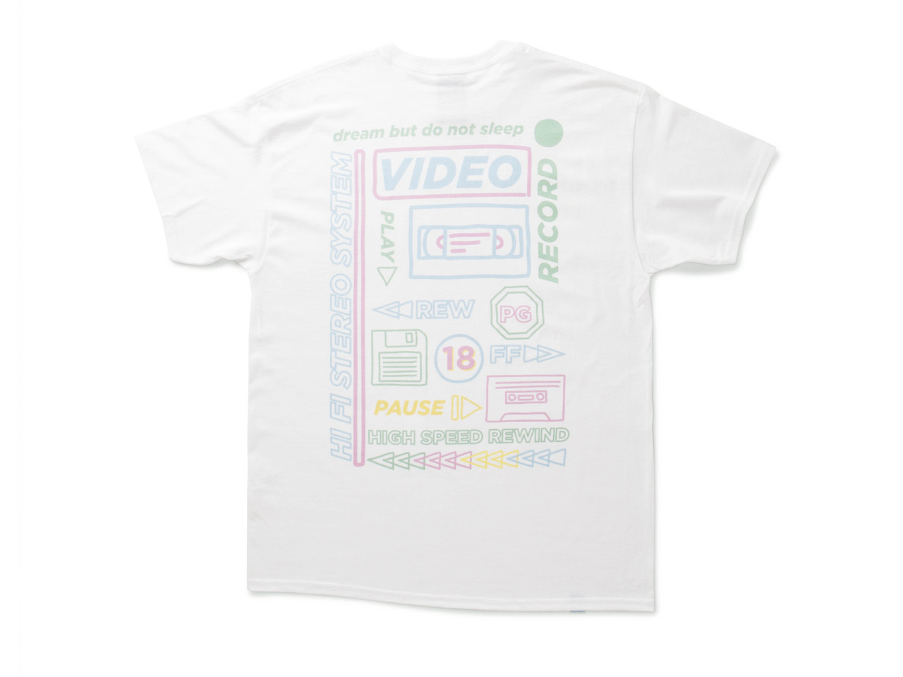 White Short Sleeved T-shirt With 80's VHS Design