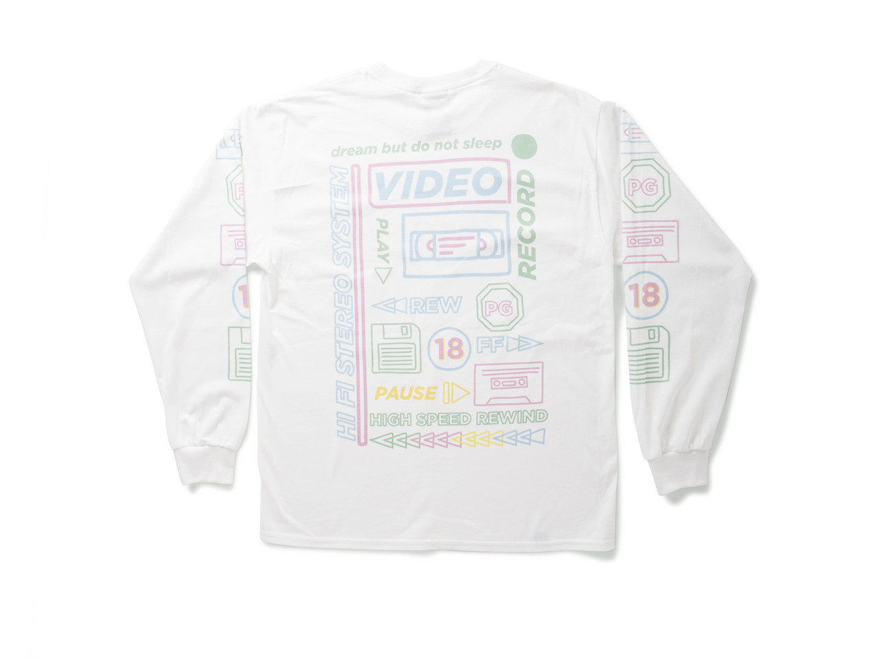 White Long Sleeved T-shirt With 80's VHS Design