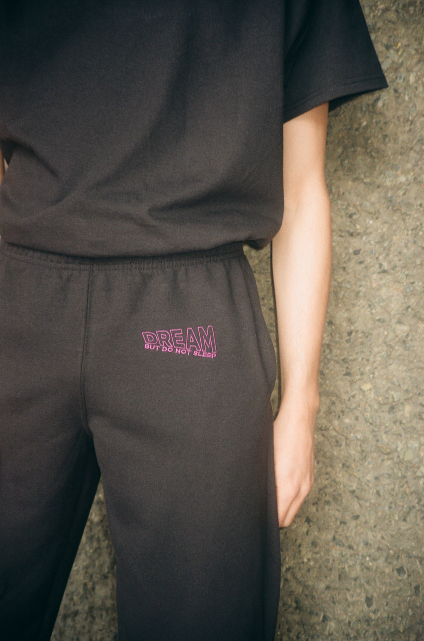 Black Joggers With Violet Dream Embroidery