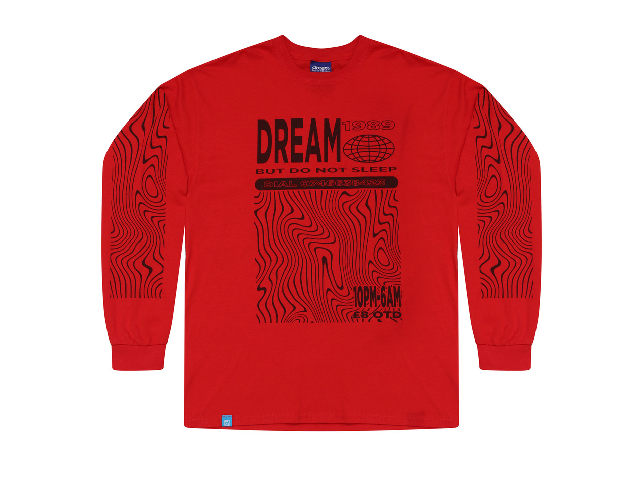 Red Long Sleeved T-shirt with Dream Globe Rave Flyer Graphic