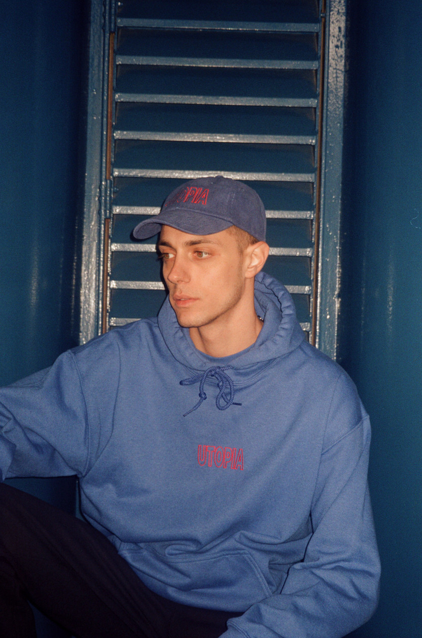 Royal Blue Hoodie With Embroidered Utopia Logo