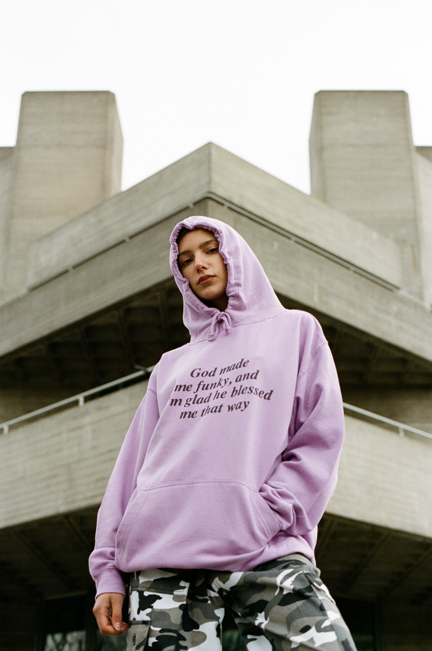 Light Purple Hoodie With 'God Made Me Funky' Printed Design