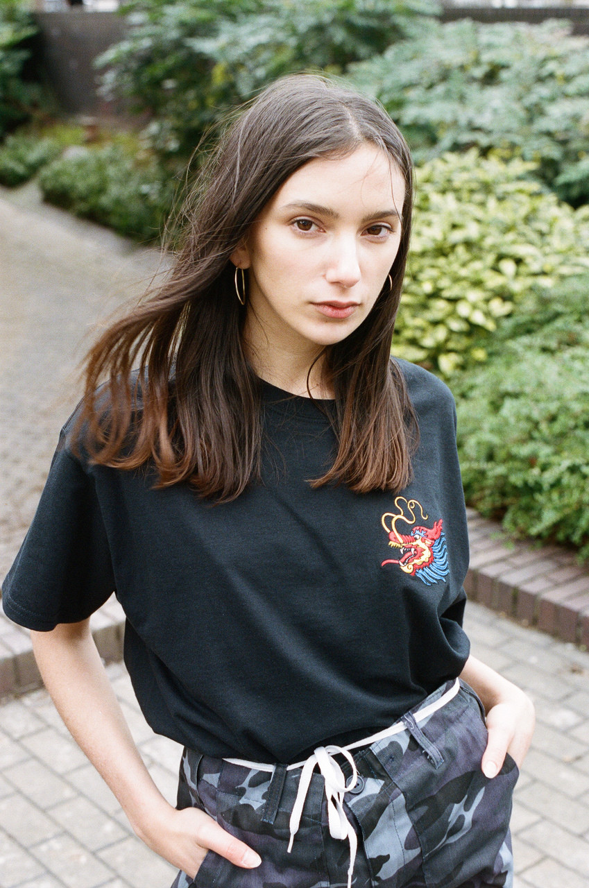 Black T-shirt With Chinese Dragon Embroidered Design