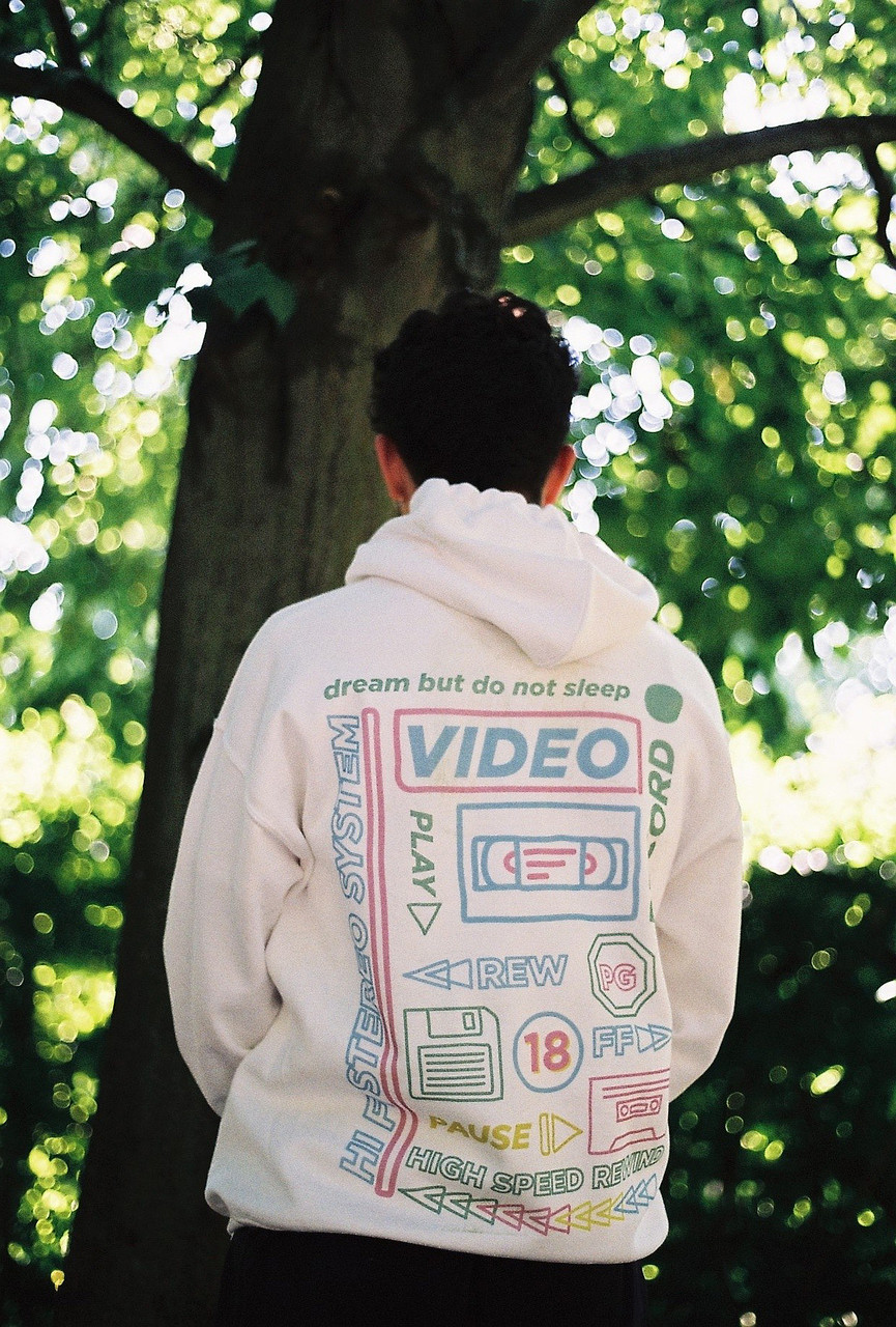 White Cotton Hoodie With Printed 80's VHS Design