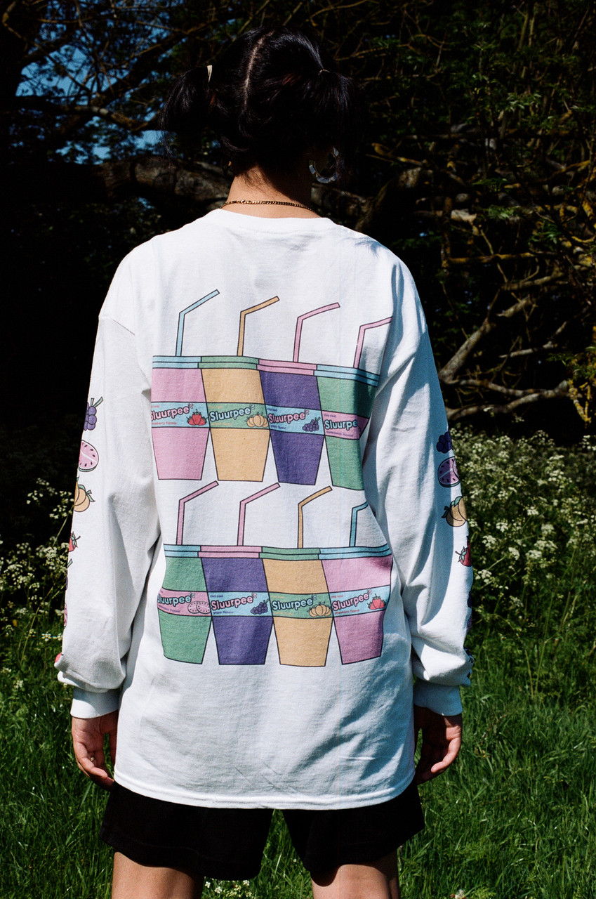 White Long Sleeved T-shirt With Printed Sluurpee Design
