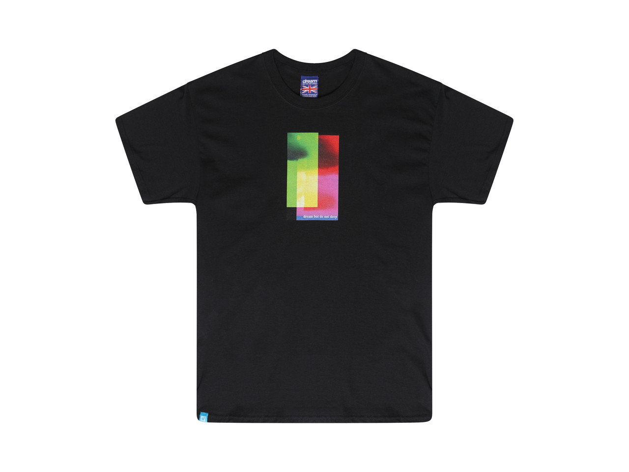 Black Short Sleeved T-shirt With Light Leak Multi-Coloured Photo Print