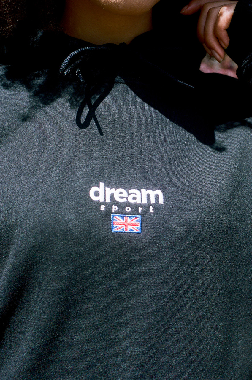 Black Hoodie With Dream Sport Embroidered Logo