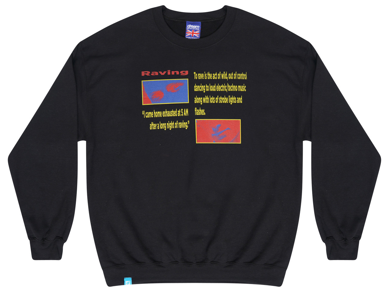 Black  Sweatshirt With Rave Flyer Print
