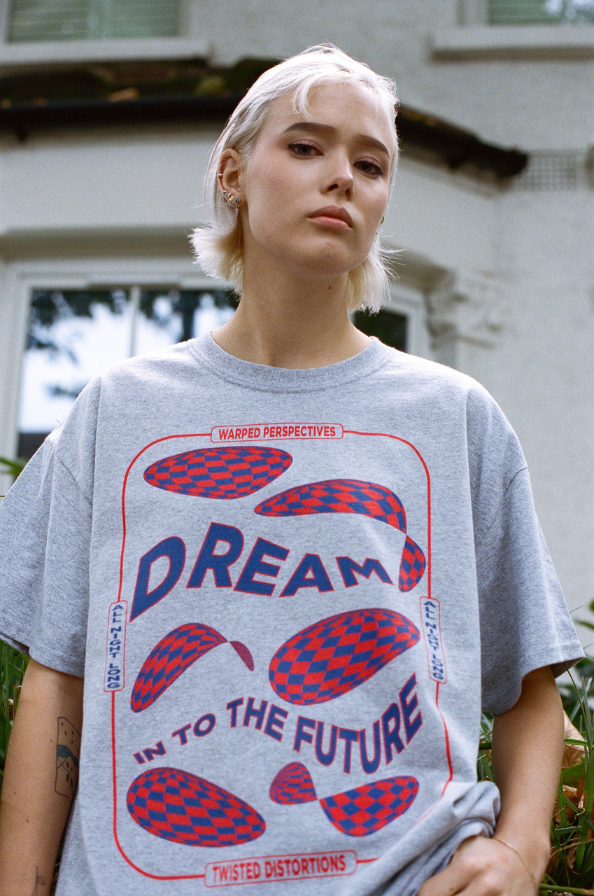 Grey Short Sleeved T-shirt With Dream Into The Future Print