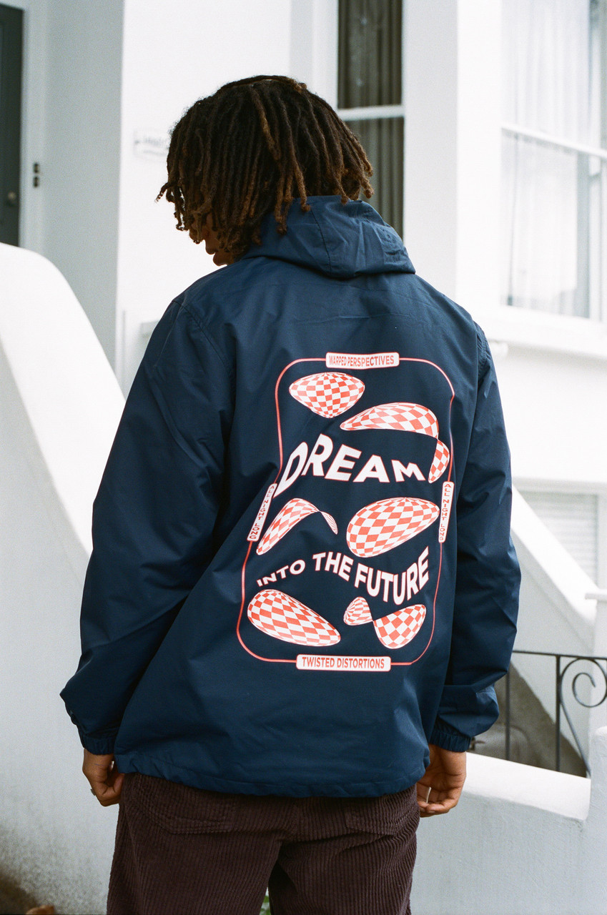 Navy Windbreaker Anorak Jacket With Dream Into The Future Print
