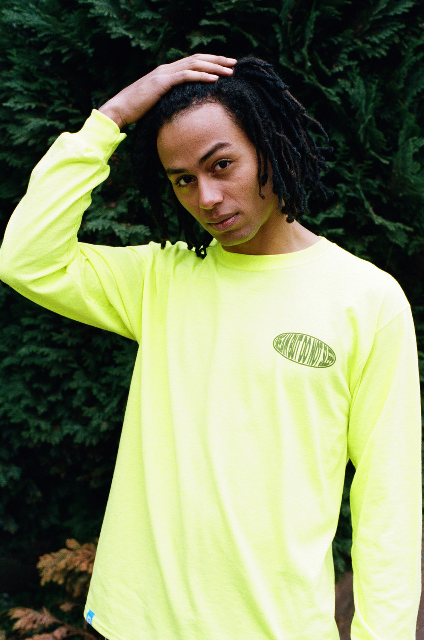Neon Green Long Sleeved T-shirt With Strictly Positive Vibes Print