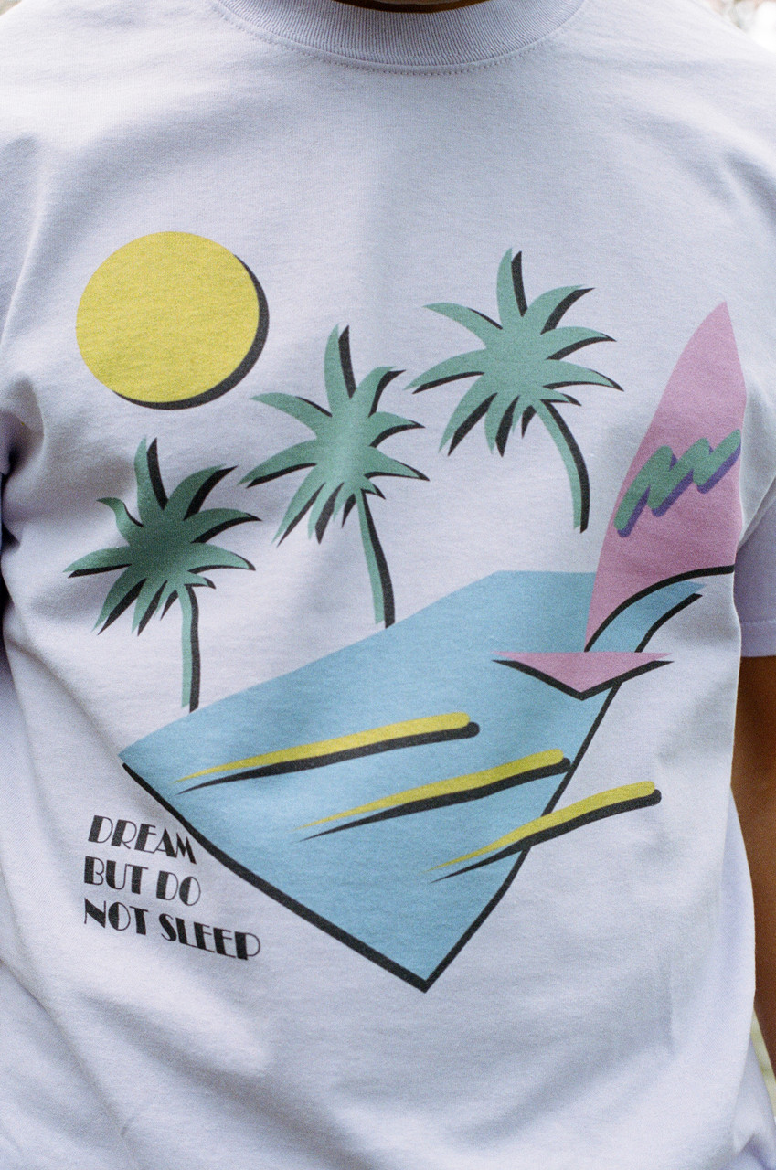 Short Sleeved T-shirt In Light Purple With 80s California Palm Print