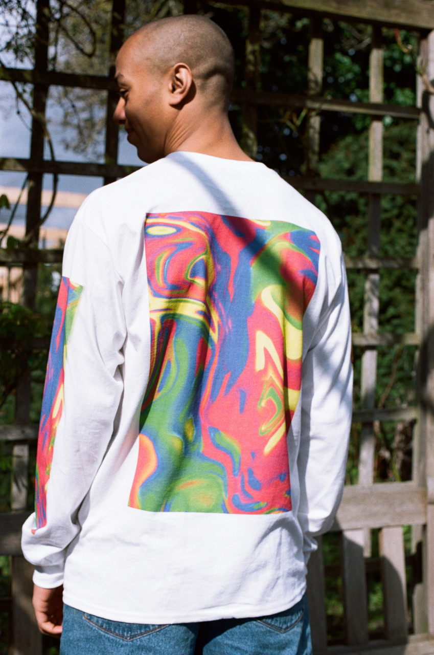 Long Sleeved T-shirt In White With Trippy Festival Print