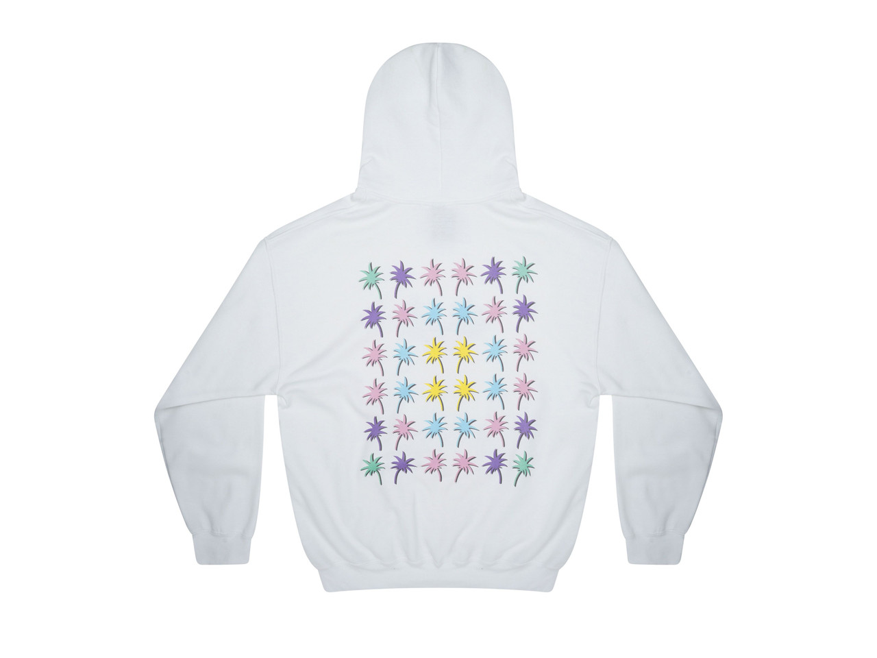 Hoodie In White With Tropical Palm Tree Print