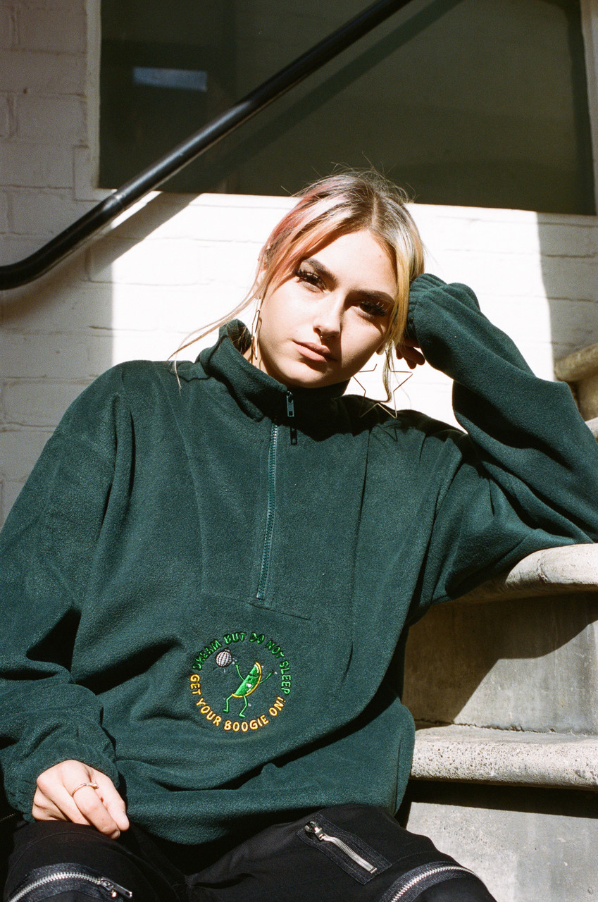 Fleece In Forest Green Disco Dave Fruity Raver Embroidery