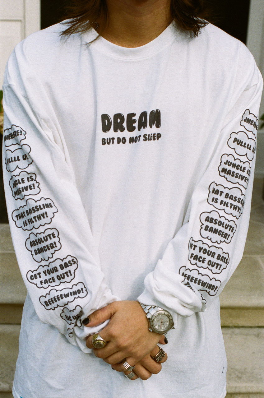 Long Sleeved T-shirt White Party On Bro Mushroom Graphic