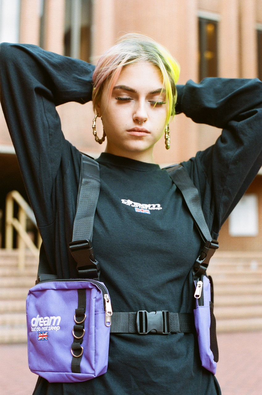 Purple Body Harness Bag with DBDNS Embroidery