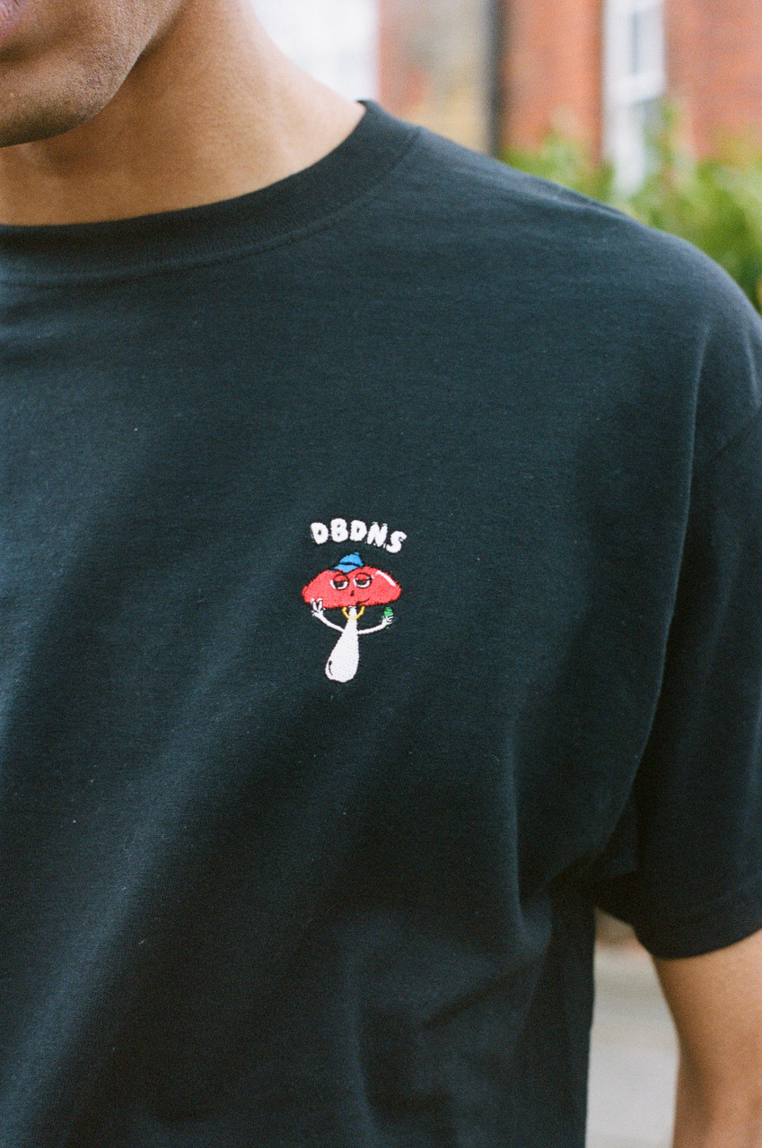 Short Sleeved T-Shirt in Black With Embroidered Bro Shroom