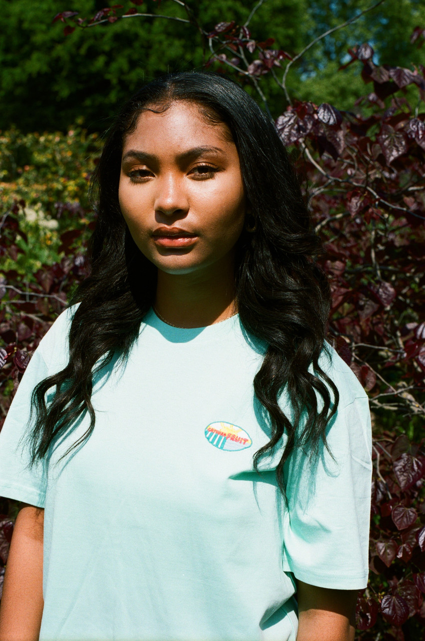 Short Sleeved T-Shirt in Aqua With Embroidered Fruit Sticker