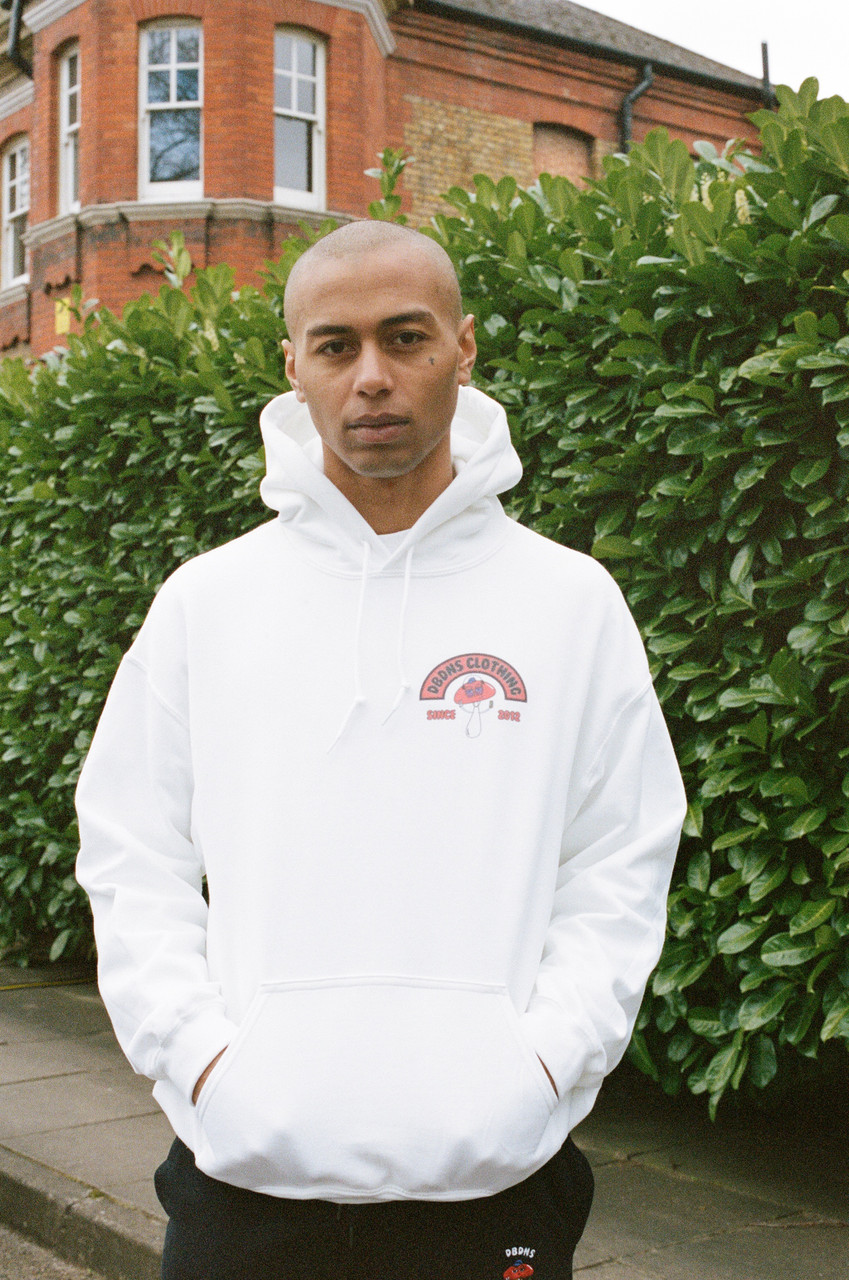 Hoodie In White With Bro Shroom Est 2012 Print