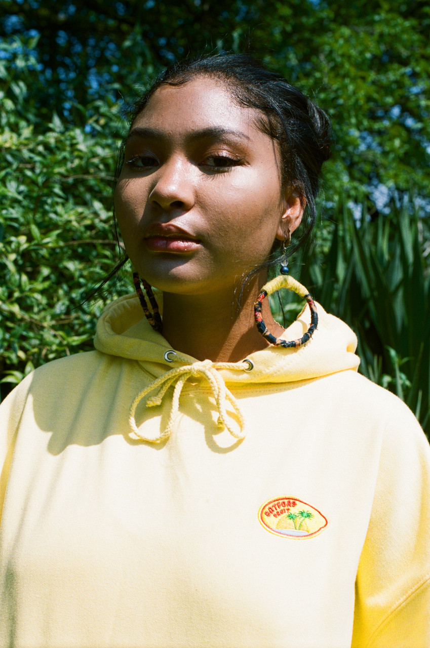 Hoodie in Yellow with Fruit Sticker Embroidery