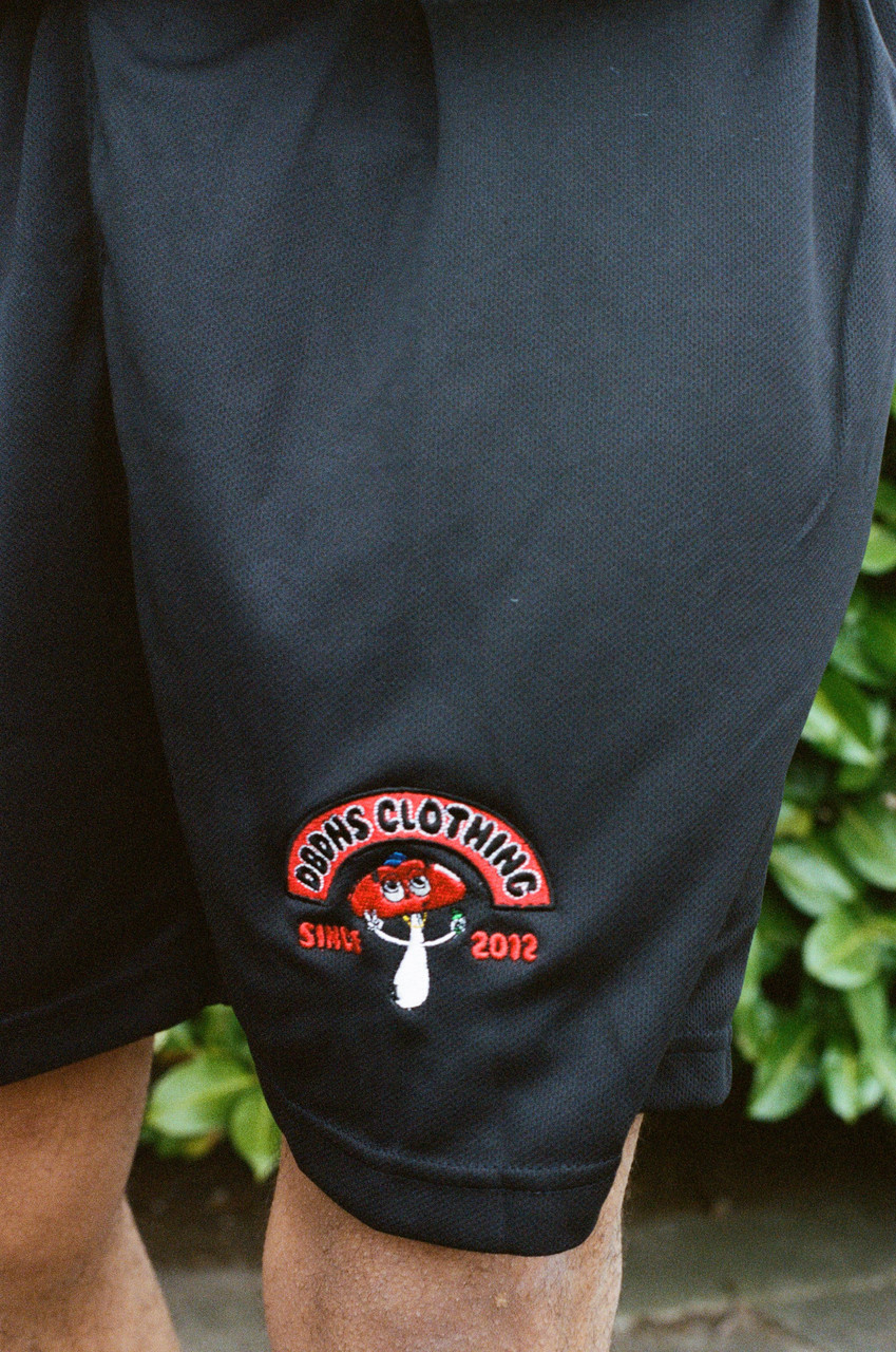 Shorts in black with Bro Shroom Embroidery