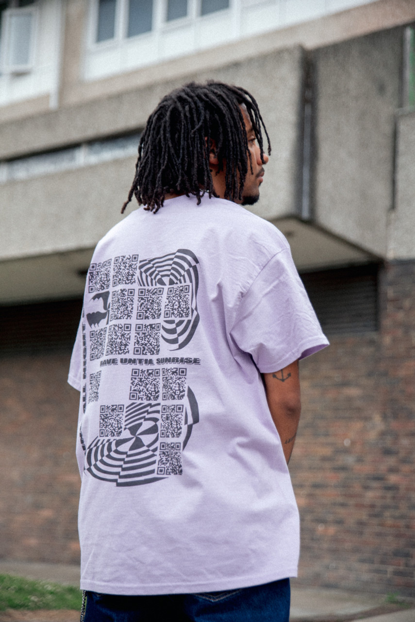Short Sleeve Tshirt in Purple with QR Code Print