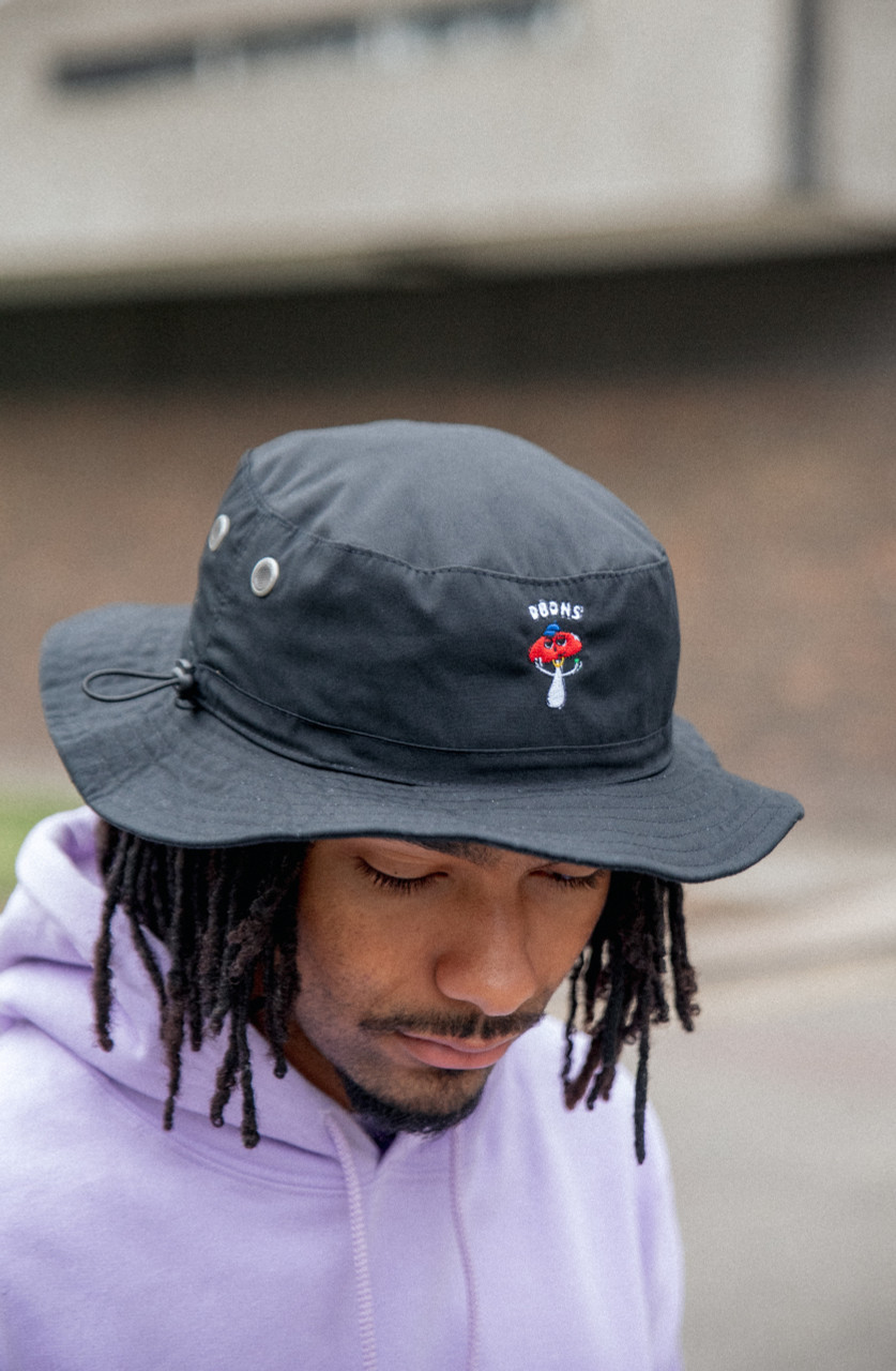 Bucket Hat In Black With Embroidered Bro Shroom