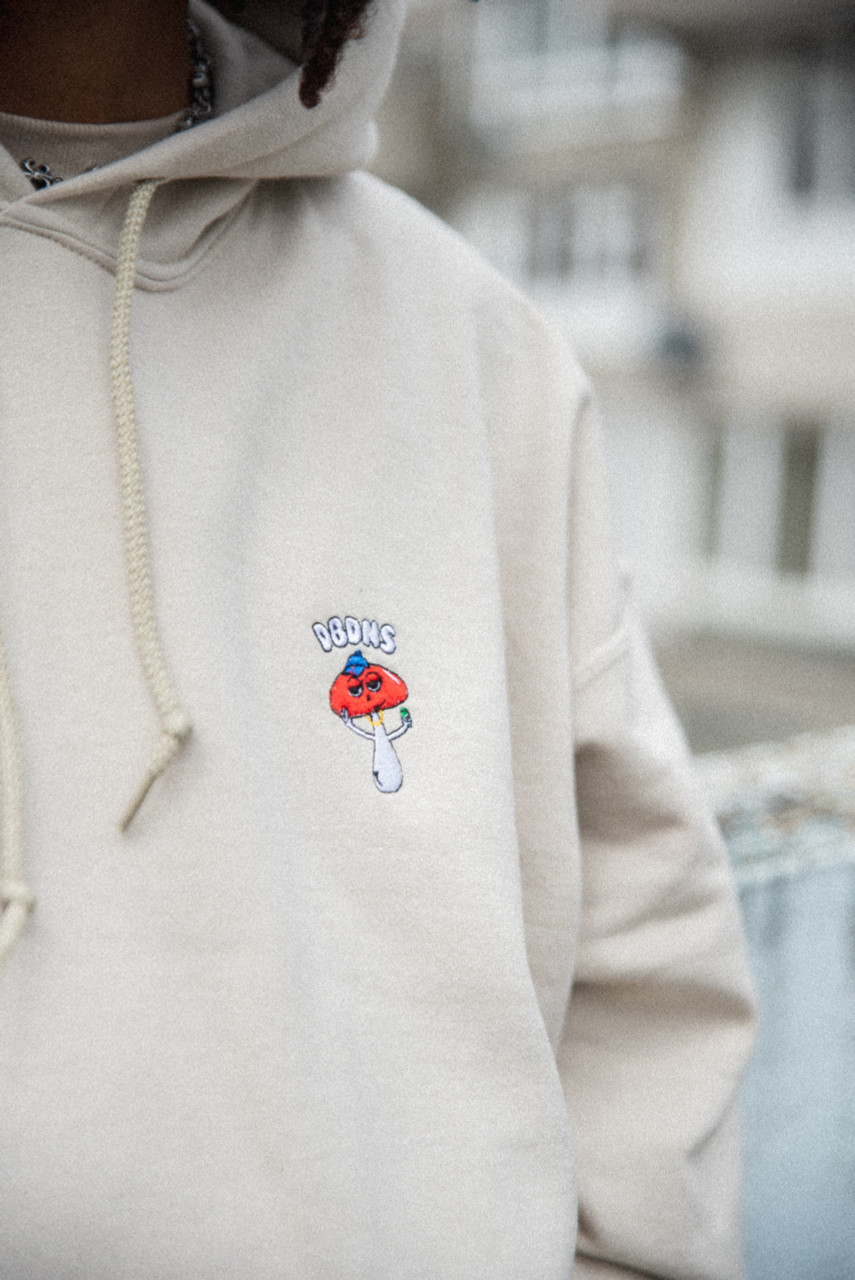 Hoodie in Sand with Bro Shroom Embroidery