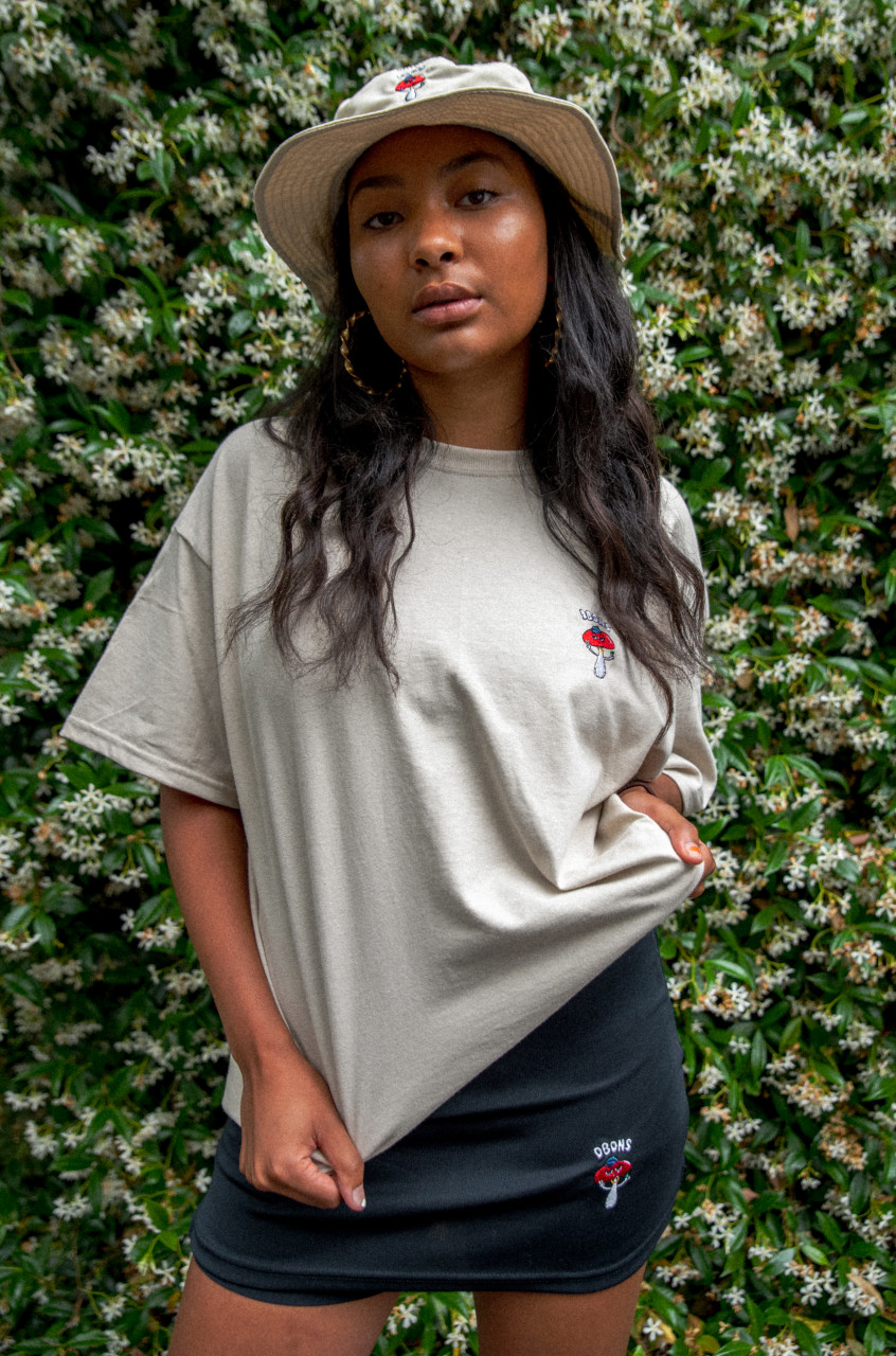 Short Sleeve Tshirt in Sand with Bro Shroom Embroidery