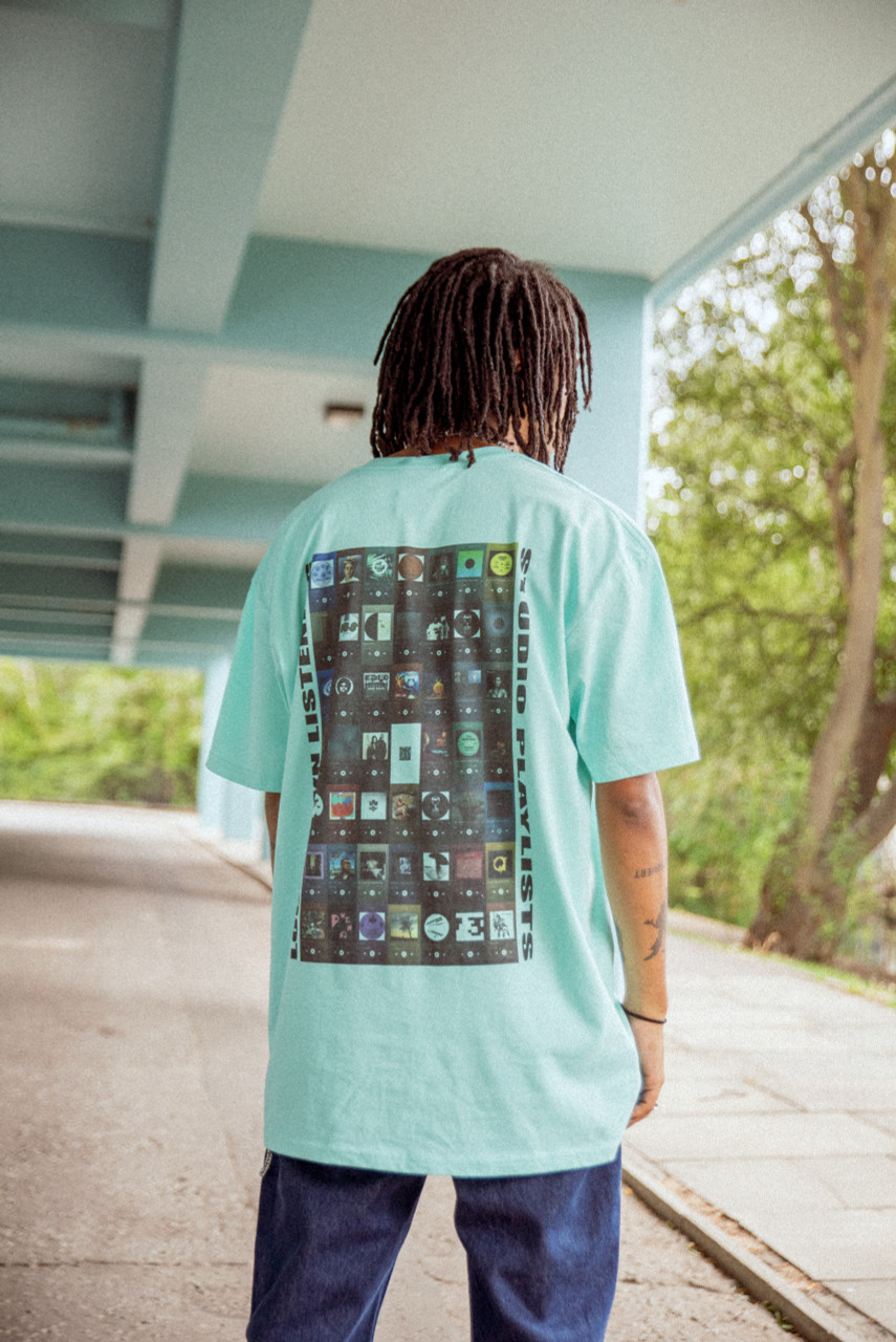 Short Sleeve Tshirt in Aqua with Studio Playlist Print