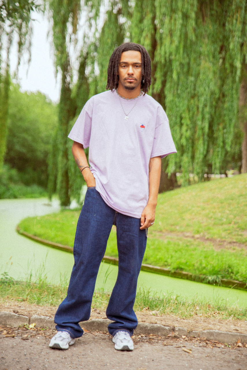 Short Sleeve Tshirt in Light Purple with Bro Shroom Embroidery