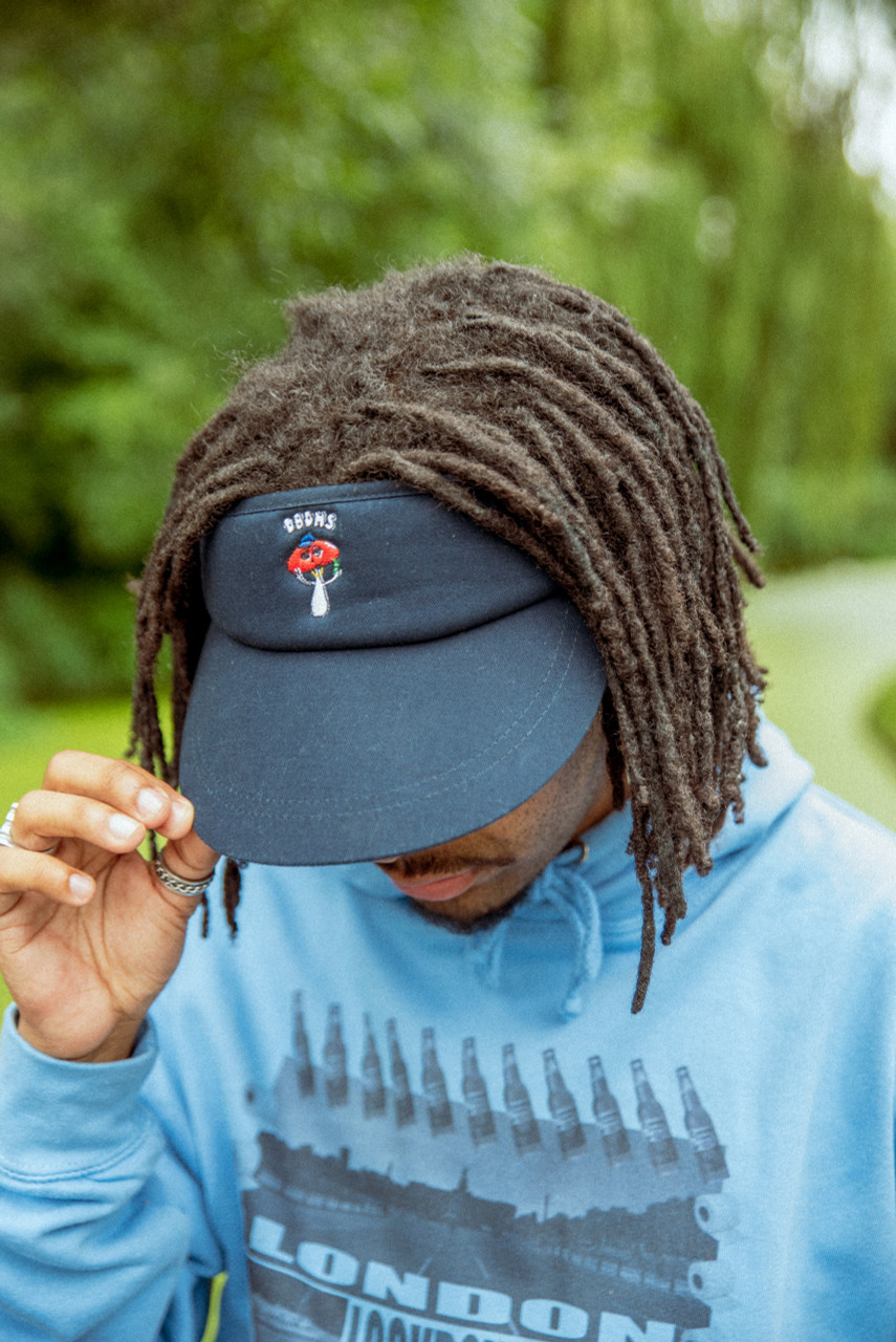 Sun visor In Navy With Embroidered Bro Shroom