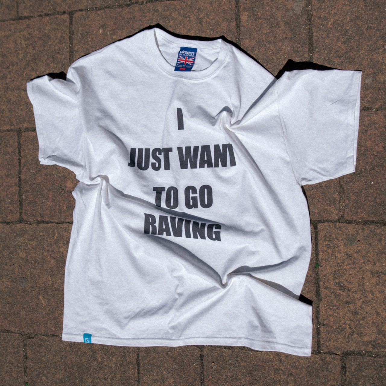 Short Sleeve Tshirt in White with I Just Want To Go Raving Print