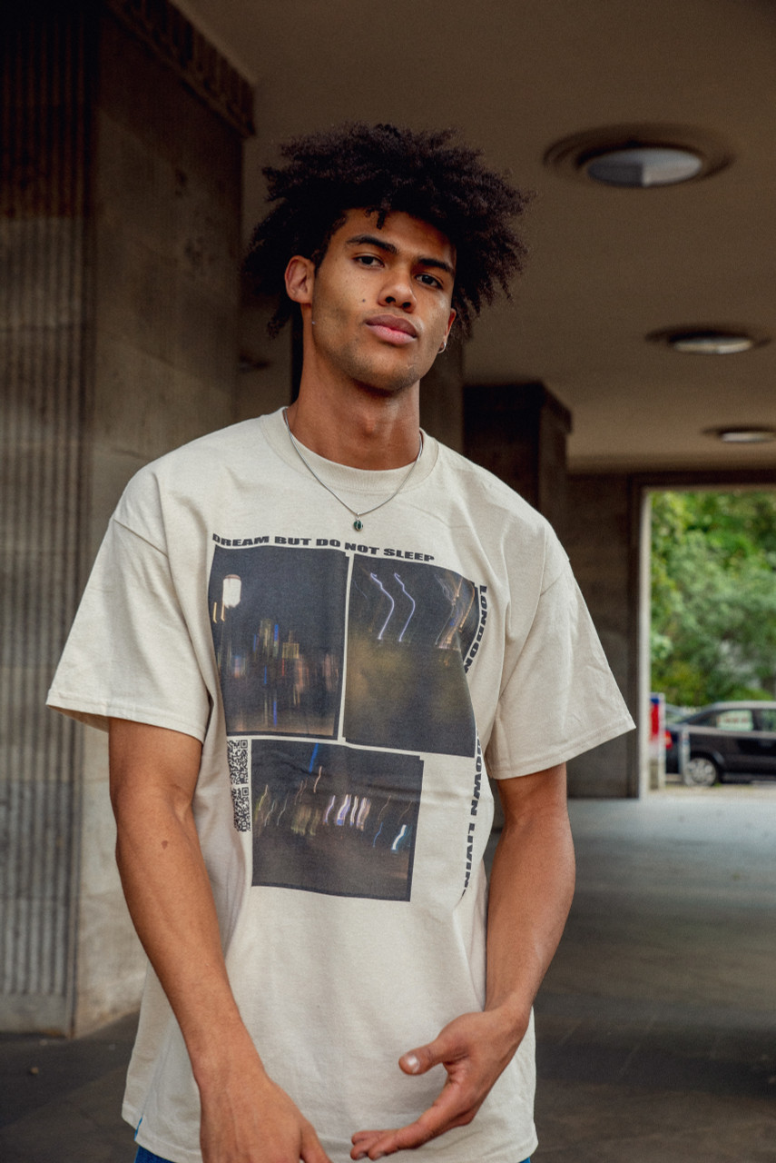Short Sleeve Tshirt in Sand with Ghost Town Print