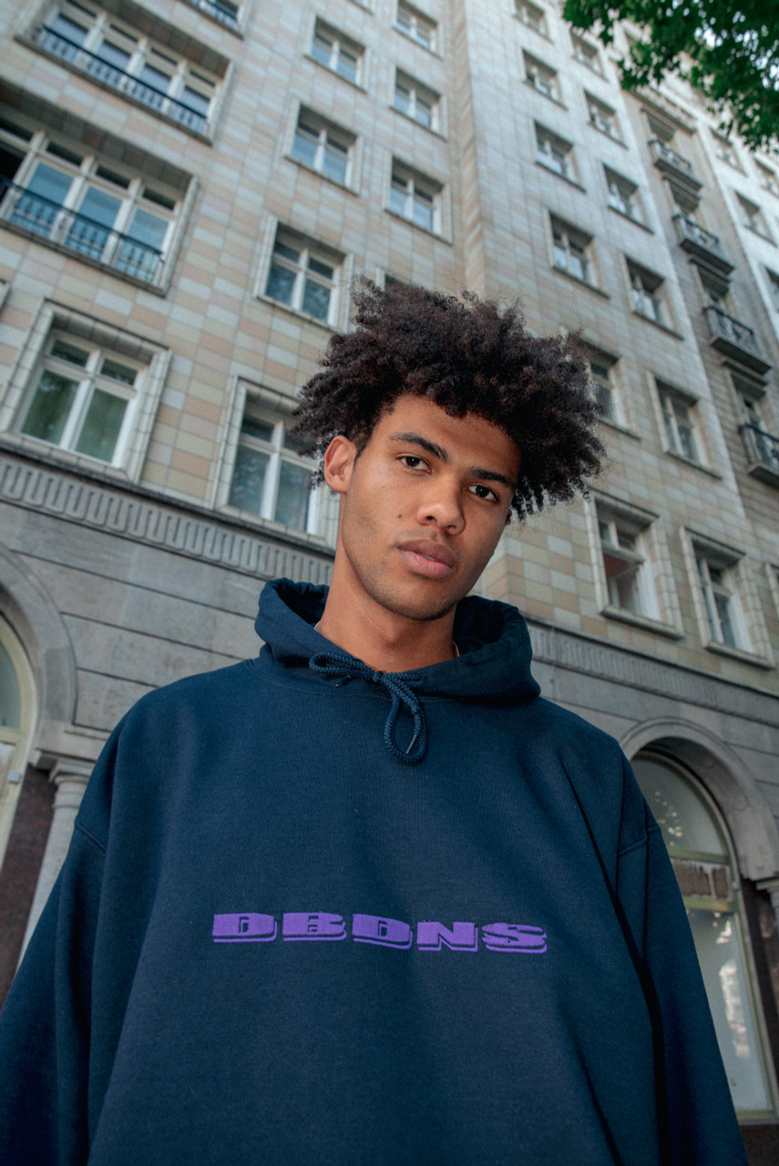 Hoodie in Navy with Purple Logo Embroidery
