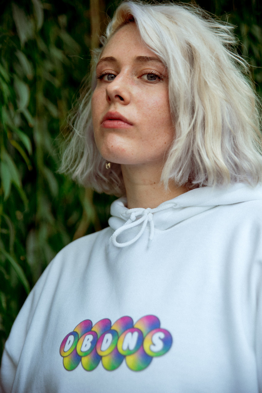 Hoodie in White with Geometric Bubble Logo Print