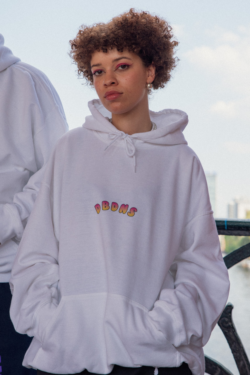 Hoodie in White with Watermelon Bubble Logo Print