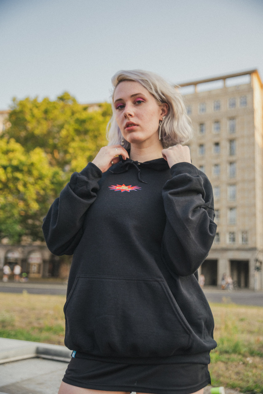 Black Hoodie With POW! Embroidered Logo