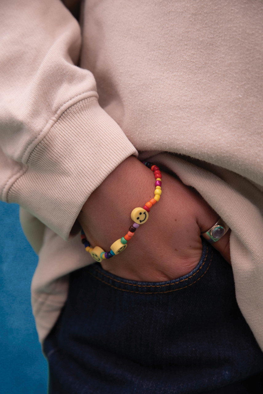 Rainbow Beaded Unisex Smiley Bracelet