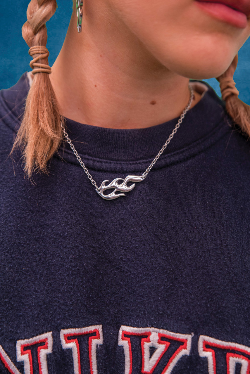Silver Unisex Metal Flame Necklace Style 2