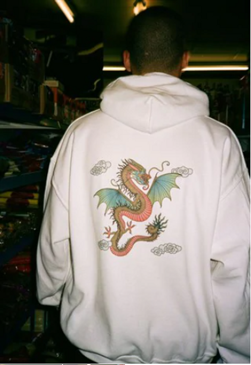 Hoodie in White With Chinese Dragon Print