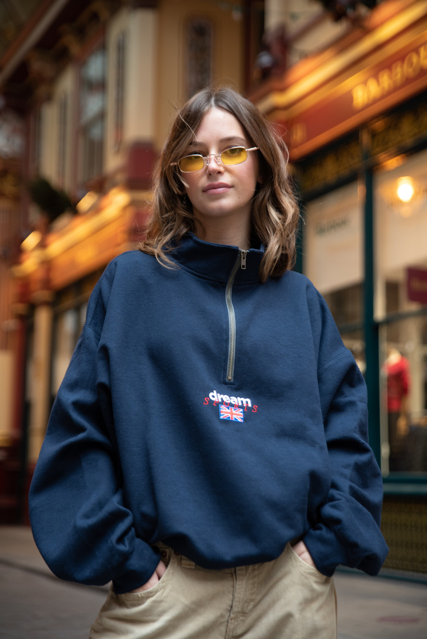 1/4 Zip Sweatshirt In Navy With Dream Sports Embroidery